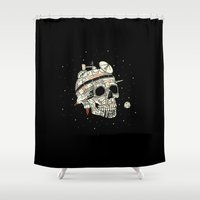brad pitt Shower Curtains featuring Planet Space Skull  by Josh Ln