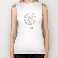airbender Biker Tanks featuring Avatar Last Airbender Elements - Fire by bdubzgear