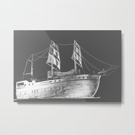 Ship In Black & White Metal Print
