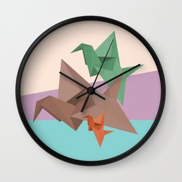 PAPER CRANES (Origami abstract birds animals nature) Wall Clock