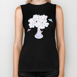 Kawaii Tree Clouds Biker Tank