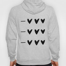 White and black doodle hearts and dashes pattern Hoody