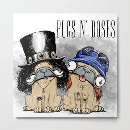 Pugs N Roses Metal Print