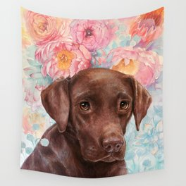 Flowers and Chocolate (chocolate lab dog watercolor portrait painting) Wall Tapestry