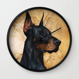 Black and Gold ( Doberman dog ) Wall Clock