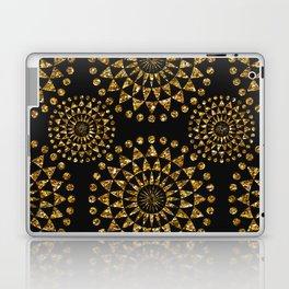 Gold glamour faux glitter ornament shimmering black Laptop & iPad Skin