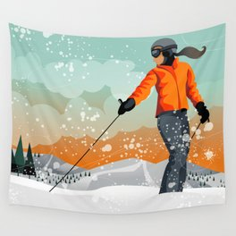 Skier Looking Wall Tapestry