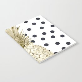 Gold Pineapple on Black and White Polka Dots Notebook