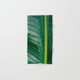 Close Up Of A Banana Leaf Tropical Green Leaf Moisture Droplets Wet Leaf Hand & Bath Towel
