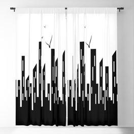 Cidade em Branco e Preto Blackout Curtain