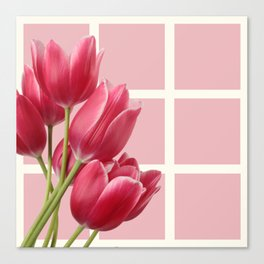 Beautiful Tulips & Pink Square Grid Canvas Print