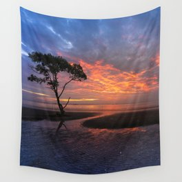 Colorful Sunset on the Beach Wall Tapestry