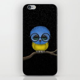 Baby Owl with Glasses and Ukrainian Flag iPhone Skin