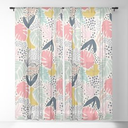 TROPIC COLLAGE ABSTRACT MODERN Sheer Curtain
