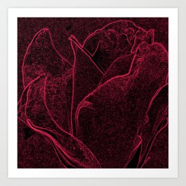 Gothic Rose in Black and Scarlet Art Print