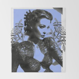 1940's Screen Siren Tattoo Art Throw Blanket
