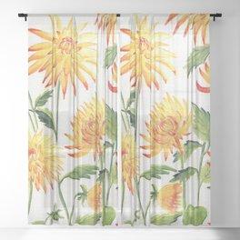 Dahlia Flowers 1 Sheer Curtain