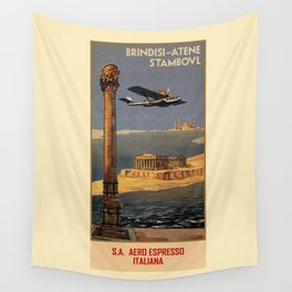 Italian vintage plane travel Brindisi Athens Istanbul Wall Tapestry