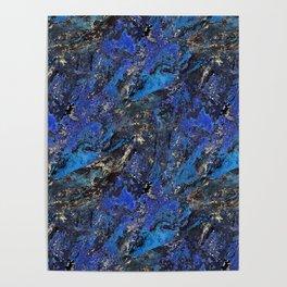 Precious Lapis Lazuli Stone Mineral Blue Gold Poster