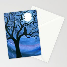 Meowing at the moon - moonlight cat painting Stationery Cards