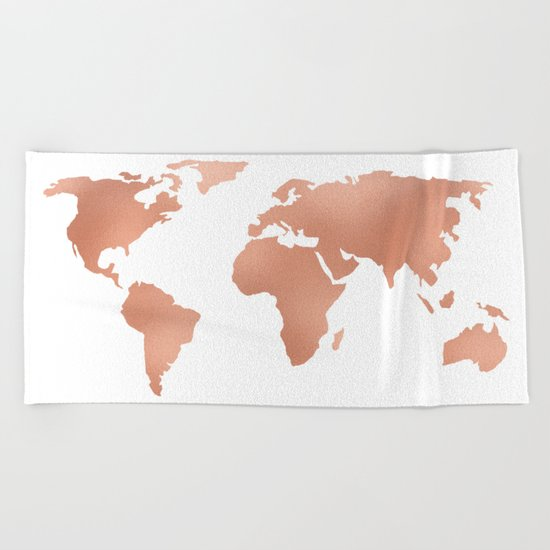 World Map Rose Gold Bronze Copper Metallic Beach Towel