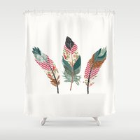 feathers Shower Curtains featuring Feathers  by Juliana Zimmermann