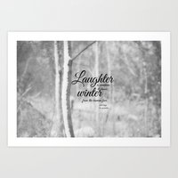 les miserables Art Prints featuring Les Miserables Quote Winter by KimberosePhotography