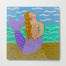Purple Mermaid Abstract Digital Painting Metal Print