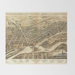 Bird's Eye View of Brantford, Ontario, Canada (1875) Throw Blanket
