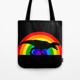 T-Rex Rainbow War Tote Bag