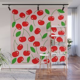 Illustrated Cherry Pattern Wall Mural
