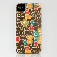 Robots on brown. iPhone (4, 4s) Slim Case