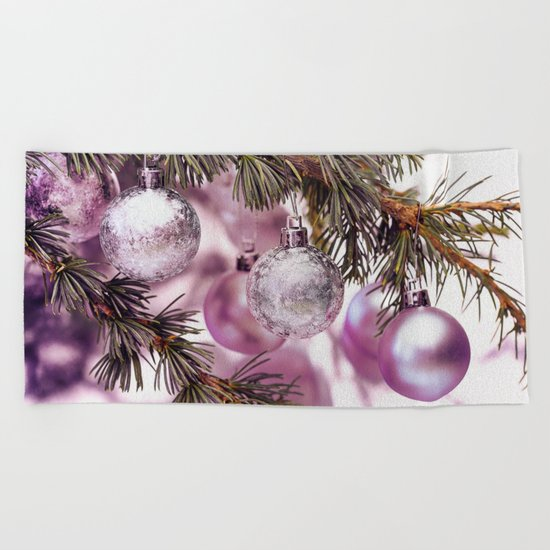 Pink Christmas shimmering baubles twig Beach Towel