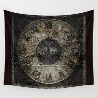 wall clock Wall Tapestries featuring Grunge Clock by Kelday Digital Art