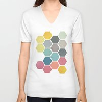 cassia beck V-neck T-shirts featuring Honeycomb II by Cassia Beck