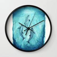 river song Wall Clocks featuring Song of the Vaquita  by Amber Marine