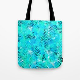 Turquoise Chevron Ink Spill Tote Bag