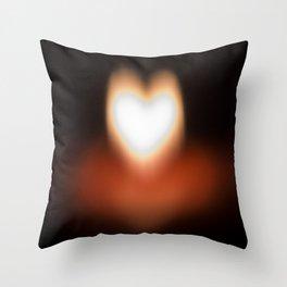 Camera blur flame heart Throw Pillow