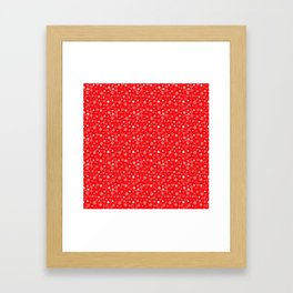 Velvet Red & White Christmas Snowflakes Framed Art Print