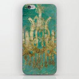 Gold and Peacock Chandelier iPhone Skin