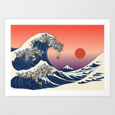 The Great Wave of English Bulldog Art Print