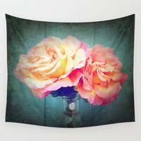 vintage flowers Wall Tapestries featuring Vintage Flowers by 2sweet4words Designs