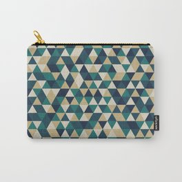 Foggy Petrol and Blue - Hipster Geometric Triangle Pattern Carry-All Pouch