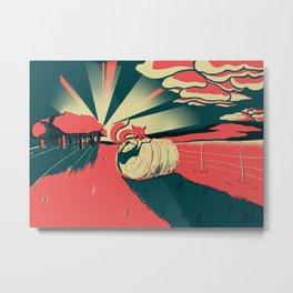 Fox at Sunset Metal Print