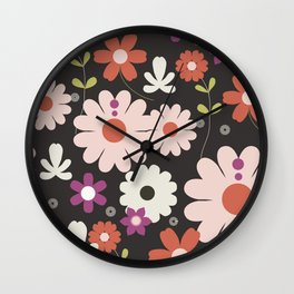 Flowers: Royal black Wall Clock