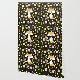Fox among flowers II Wallpaper