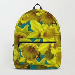 YELLOW SPRING DAFFODILS ON TEAL COLOR ART Backpack