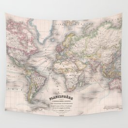 Vintage Map of The World (1876) Wall Tapestry