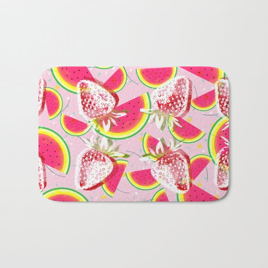 Strawberries Melon Fiesta Pattern Bath Mat