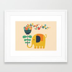 Elephant with giant flower Framed Art Print
